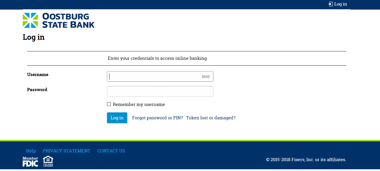 Business Banking Log in Page